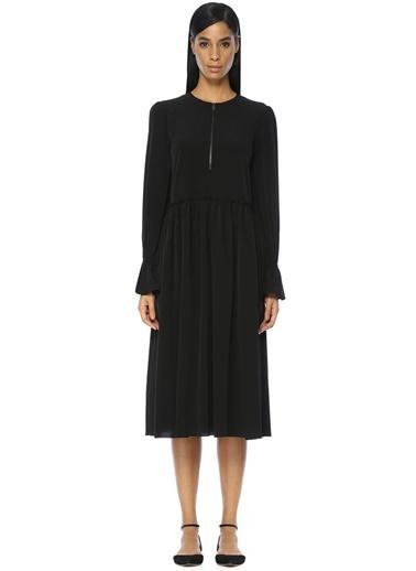 Uzun Kollu Beli Fırfırlı Midi Elbise-Academia